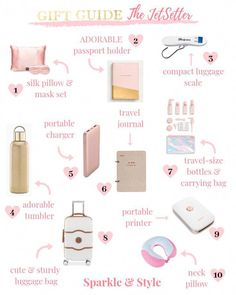 Gift Guide For The JetSetter Gift Guide For The Traveler Gift Guide Girly Girl Gift Ideas Gift Guide For Her Christmas Gift Guide Holiday Gift Guide Gifts For Her Gift Ideas For Her affiliate links Travel Bag Essentials, Packing Tips For Travel, Airplane Essentials, Travel Hacks, Airplane Hacks, Christmas Gift Guide, Holiday Gifts, Christmas Gifts, Gifts For Teens