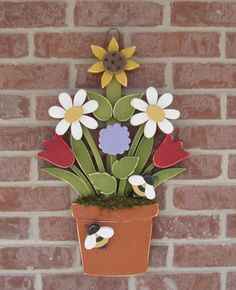 FLOWER POT With Daisies, Sunflower, Tulips, Lilac and Bees for home decor, door hanger, mothers day and spring decor. $42.95, via Etsy.