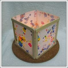 popsicle stick lantern - use with kids art work or photos of kids