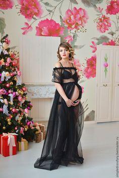 Купить Будуарное платье (пеньюар) для беременных - однотонный, пеньюар, халат, халат для невесты, халат с кружевом