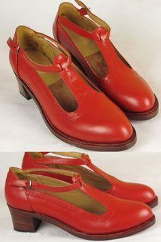 "Leather HandMade Vintage Shoes Heels | ""HandMade Vintage Shoes Leather HighHeel Red"" by xylemyuen"