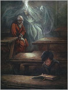 Charles Dickens' 'A Christmas Carol' with illustrator P. Lynch showing the Ghost of Christmas Past with Ebenezer Scrooge seeing himself as a schoolboy, banished from home. Scrooge A Christmas Carol, Christmas Carol Charles Dickens, Ghost Of Christmas Past, A Christmas Story, Christmas Art, Christmas Holidays, Ebenezer Scrooge, Calvin And Hobbes, Christmas Pictures