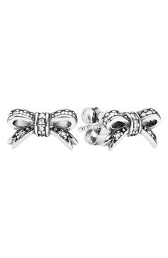 9adc7f7e8 PANDORA 'Sparkling Bow' Crystal Stud Earrings available at #Nordstrom  Pandora Glass Beads,