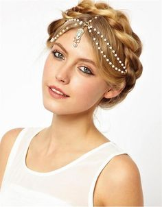 Wedding Crown Chain Pearl and Gold Headpiece