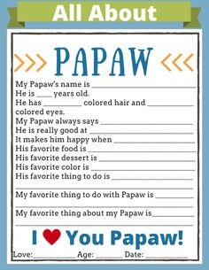 All About Daddy Printable – Nurse Loves Farmer A great and personal gift for Daddy is this All About Daddy printable questionnaire for your kids to fill out. I have made ones for Papa and Grandpa too. All About Daddy Printable – Nurse Loves Farmer Grandpa Birthday Gifts, Uncle Gifts, Daddy Gifts, Grandpa Gifts, Daddy Birthday, Girlfriend Birthday, 80th Birthday, Birthday Quotes, Diy Father's Day Gifts