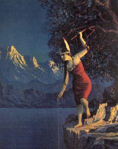 "Fishing Indian Maiden : R. Atkinson Fox : Fine Giclee Print 11x17"" #VintageCalendarArt"