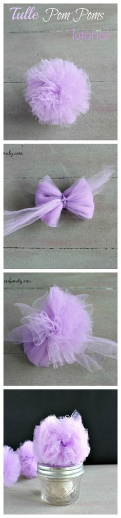 Tulle Pom Poms Tutorial for party favors or decorations. Tulle Pom Poms Tutorial for party favors or decorations. Diy Flowers, Fabric Flowers, Paper Flowers, Crochet Flowers, Fun Crafts, Diy And Crafts, Arts And Crafts, Baby Crafts, Sewing Projects