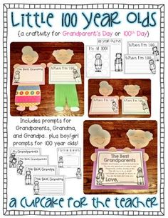 Little 100 Year Olds {a Craftivity for Grandparent's Day or Day} Celebrate Grandparent's Day OR the Day of School with this fun pack! Your kiddos will create little grandparents or 100 year old cuties, and complete writing activities, of course! Grandparents Day Crafts, Mothers Day Crafts, 100 Days Of School, School Holidays, School Stuff, Kindergarten Crafts, Preschool Crafts, Holiday Activities, Writing Activities