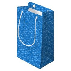#Snow Flakes in Blue and White Small Gift Bag - #Xmas #ChristmasEve Christmas Eve #Christmas #merry #xmas #family #kids #gifts #holidays #Santa