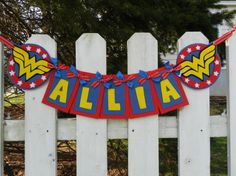 Wonder Woman Party ~ Decorations ~ Personalized Felt Wonder Woman Girls Name Banner by triobyn, $35.00 (possible DIY and using cardstock/cardboard)