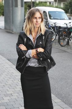 Leather jacket with work ensemble