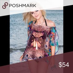 Boat Neck Top Peacock Print Beautiful embellished tunic! You can match it with your favorite swimsuit, or just wear as a top with jeans, shorts or leggings 😎 Tops Tunics