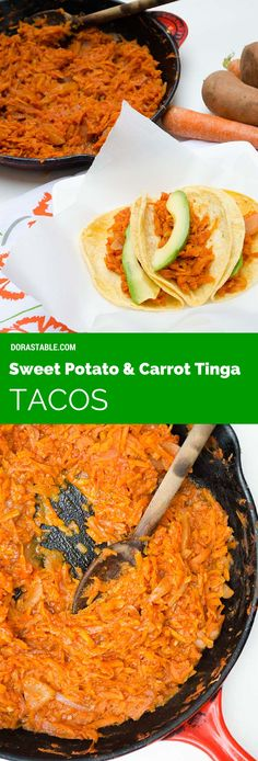 Sweet Potato and Carrot Tinga Tacos. A vegan Mexican recipe. Serve with warm tortillas and avocado slices