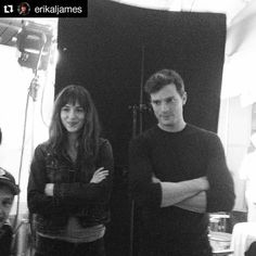 #TBT #FSoG between takes. The bar room scene. #DakotaJohnson #JamieDornan #Repost E L James