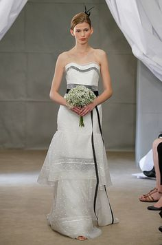 Carolina Herrera black and white wedding dress, Spring 2013. See more #wedding fashion: http://ccwed.me/KIp6ZC