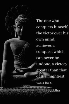 Buddha Quote on Conquering the Mind - the mind can achieve great things when we learn to control our thoughts and actions. Buddha Quotes Happiness, Buddha Quotes Love, Buddha Quotes Inspirational, Zen Quotes, Karma Quotes, Happy Quotes, Positive Quotes, Motivational Quotes, Life Quotes