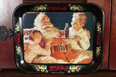 Fun Vintage 1981 Coca-Cola Advertising Metal Tray Santa Claus Children Christmas #CocaCola