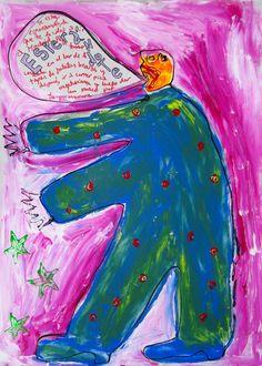 """""""Esperándote"""" de Victoria Barranco @ VirtualGallery.com - Pintura acrílica en cartón de 50x70 cm (19.7x27.6 in). Arte marginal. Figura de un gigante hablando. (2015)"""