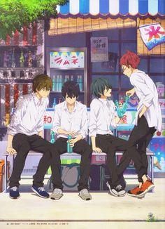 Makoto Tachibana, Haruka Nanase, Ikuya Kirishima, and Asahi Shiina Anime Guys, Manga Anime, Anime Art, Splash Free, Free Eternal Summer, Anime Group, Free Iwatobi Swim Club, Kyoto Animation, Shall We Date