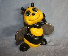Handpainted Ceramic Bumble Bee With Silver By FlutterbyConnections