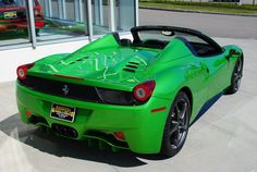 Ferrari 458 Spider Verde Luxury Sports Cars, Exotic Sports Cars, Exotic Cars, Ferrari 458, Porches, Ferrari Spider, Cool Boats, Car Manufacturers, Hot Cars