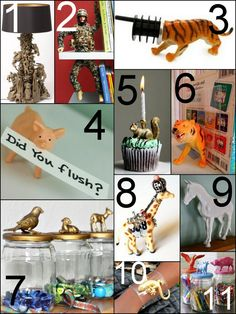 truebluemeandyou: Roundup of Plastic Toy Tutorials. DIY Plastic Toys Tutorials. I've loved all the DIYs that I've seen and posted using either Dollar Store animals or old toys. Here are some of my favorites:  Toy Lamp by Artist Ryan McElhinney here.   DIY War and Peace Bookend here.   Animal Wine Stoppers here. Make your own.  Communicating through Animals here.   DIY Gilded Party Animal Candles