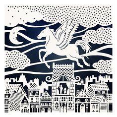 Original Papercut Illustration - The Fly-Away Horse - 8x10 Fine Art Print  via SarahTrumbauer on Etsy.