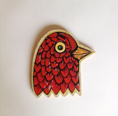 Bird Head Painted Woodblock Print Mounted on Wood by HorseAndHare, $50.00