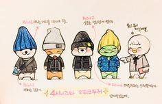 B1A4 6th annniversary fan meeting fanart. Sandeul's fashion show by @banabanasmile on twitter Jin Young, B1a4, Kdrama, Fanart, Bands, Kpop, Comics, My Love, Twitter
