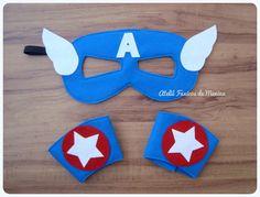 Kit de fantasia em feltro do seu Super Herói favorito!  O kit é composto por 1 máscara e 1 par de braceletes com fechamento em velcro. As crianças vão adorar receber este kit como lembrancinha , e poderão se divertir a festa toda com ele.  O kit pode ser feito em diversos tamanhos, compatíve...