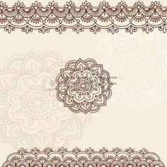henna: Hand-Drawn Henna Mehndi Tattoo Flowers and Paisley Border Doodle…