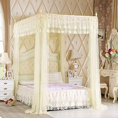 Mengersi Pink Kids Princess Bed Canopy for Little Girls Toddler Twin Bed Curtains Mesh Mosquito Net Birthday Present Kids Princess Bed, Princess Canopy Bed, Pink Princess, Purple Bedding, Twin Xl Bedding, Lace Bedding, Toddler Twin Bed, Twin Twin, Canopy Bed Curtains