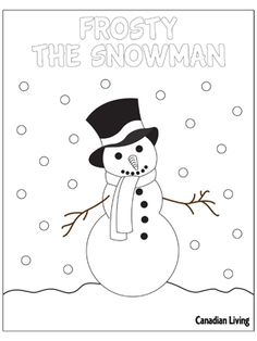 5 free holiday-themed colouring pages. Frosty the Snowman  #Kids #DIY #Crafts #Christmas