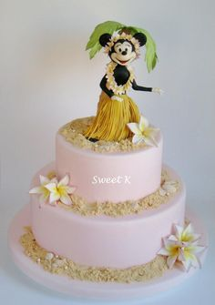 Minnie Mouse Hawaiian Luau Cake