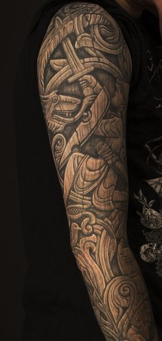 http://imgur.com/a/D10dk Two black and grey full-sleeves, Woodcarving of The Norse Saga of Sigurd the Dragonslayer, done by Jannicke W. Hansen at Let's Buzz, Bergen, Norway
