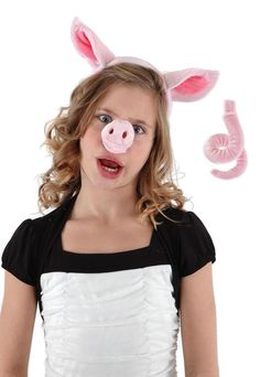 This little piggy oinked all the way home in the Pig Nose Ears & Tail Costume Accessory Set.