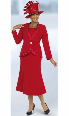 Fifth Sunday 52823-Red Pleated Trim Church Suit For Women Pleated Trim