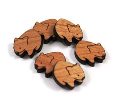 Laser Cut Supplies-8 Pieces.Wombat Charms Laser Cut Wood