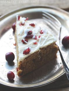 Cranberry Bliss Cake Recipe {Inspired by Starbucks' Cranberry Bliss Bars} | Healthy Sweet Eats