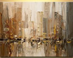 Abstract Cityscape Art Paintings for Sale - Modern Art by Osnat Blue Abstract Painting, City Painting, Acrylic Painting Canvas, Abstract Canvas, Abstract Paintings, Knife Painting, Oil Paintings, Acrylic Art, Modern Paintings