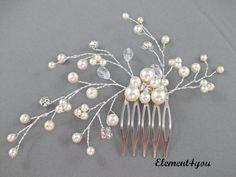 Nupcial peine pedazo del pelo de perlas marfil por Element4you