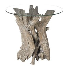 """Natural driftwood base side table with clear round glass top. Details: - Glass top - Driftwood base - Materials: Wood, Glass Dimensions: - Overall Dimensions: 22"""" w x 22"""" d x 24.5"""" h - Overall Foot Pr"""