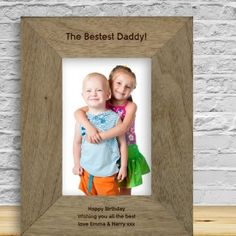 Engraved The Bestest Daddy Rustic Photo Frame