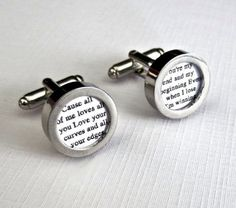 Cotton Anniversary Custom Cufflinks Wedding Groom Vows Song second 2nd 2 Year Gift for Him Husband