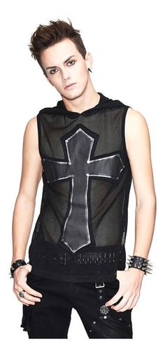 Carbon Cross Mens Mesh Shirt, Mens gothic shirt with a large carbon cross on the front. This striking sleeveless shirt also comes with an oversize mesh hood. A perfect shirt for those long summer days and hot nights. Punk Outfits, Fashion Outfits, Fashion Clothes, Fashion Ideas, Men's Fashion, Fashion Design, Casual Goth, Sweats Outfit, Gothic Shirts