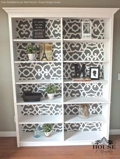 Paint bookcases or cabinets with Moroccan stencils from Royal Design Studio