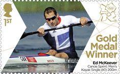 Medalla de oro sello ganador # 26 - Piragüismo en aguas tranquilas: kayak individual (K1) 200 metros masculino, Ed McKeever.