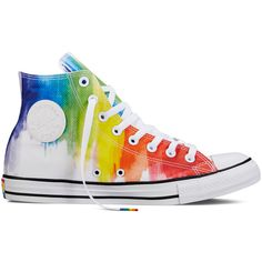 Converse Chuck Taylor All Star Pride – white Sneakers ($65) ❤ liked on Polyvore featuring shoes, sneakers, white, white trainers, rainbow sneakers, rainbow shoes, converse footwear and star shoes