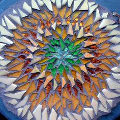 Sunflower Mosaic Mandala on Slate8 inch by nutmegdesigns on Etsy, $115.00