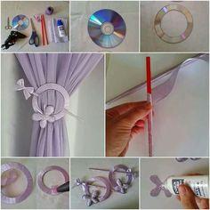 Bonito sujetador de cortinas, con cd's